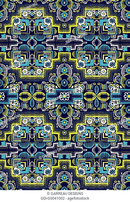 Intricate navy and yellow design