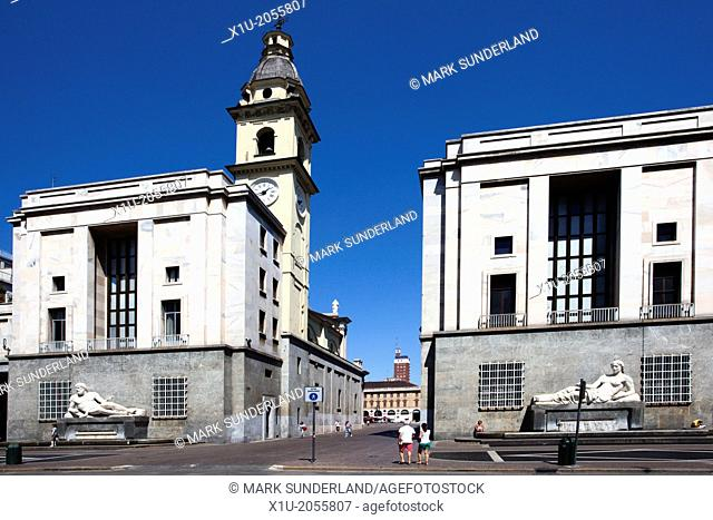 Piazza CLN with River Po and Dora Fountains behind San Carlo and Santa Cristina Churches Turin Piedmont Italy