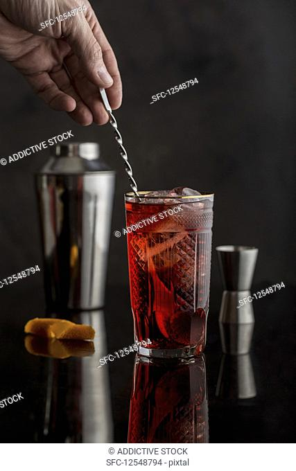 Italian negroni cocktail with Campari, Gin and Vermouth
