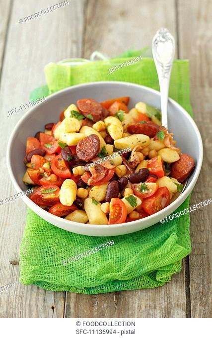 Gnocchi with chorizo, kidney beans and cherry tomatoes