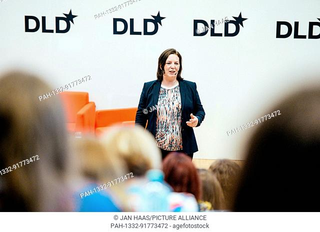 BAYREUTH/GERMANY - JUNE 21: Constanze Buchheim (iPotentials) gestures while speaking on the stage during the DLD Campus event at the University of Bayreuth on...
