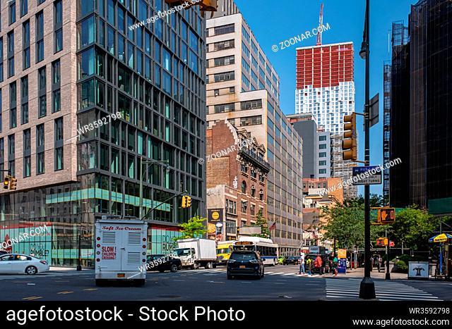 Brooklyn NY - USA - Jul 9 2019: Street scene of dowtown Brooklyn in summer sunny daylight