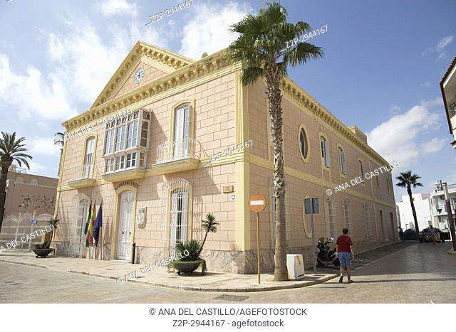 Carboneras town in Cabo de Gata natural park, Almeria, Andalusia, Spain. City hall building