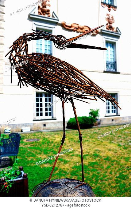 Wicker stork - decoration in gardens of Palace in Otwock Wielki or Otwock Grand Palace known also Jezierscy Family palace or Bielinscy Family palace