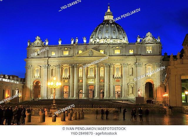 St Peter's Basilica at Night, Vatican City