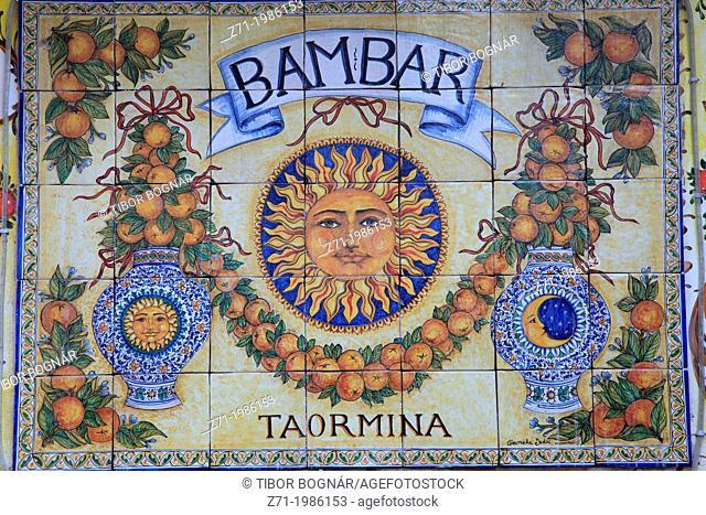 Italy, Sicily, Taormina, ceramic tiles, shop sign,