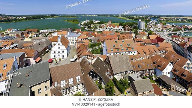 View from the Petrikirche to the Peenestrom, Wolgast, Mecklenburg-Western Pomerania, Germany