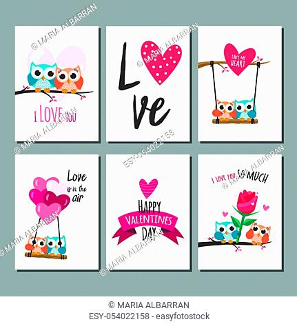 Valentine owls in love cards. Vector illustration
