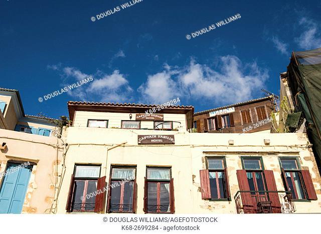 Older buildings in the Venetian Harbour in Chania, Crete, Greece