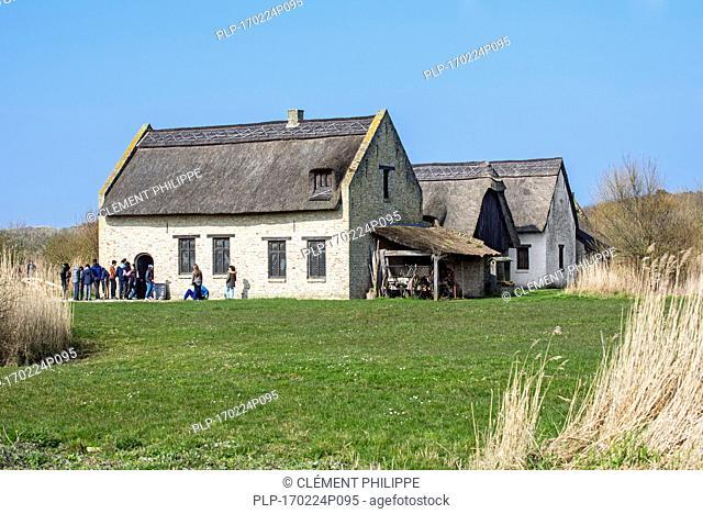 Reconstructed 15th century fishermen cottages of medieval fishing village Walraversijde, open-air museum at Raversijde, West Flanders, Belgium