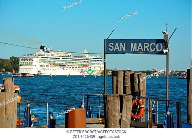 Cruise ship in the Lagoon bevor San Marco in Venice - Italy