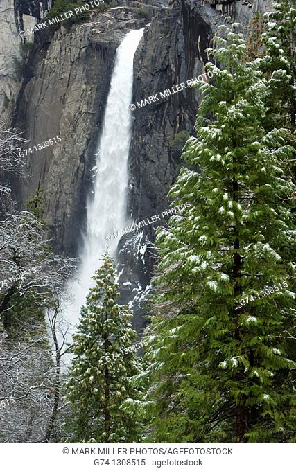 Yosemite Falls after fresh snow, Yosemite National Park, California, USA