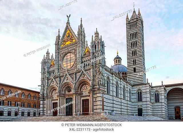 Siena Cathedral, Cattedrale di Santa Maria Assunta, in white and black marble, Old Town, Siena, Tuscany, Italy, Europe