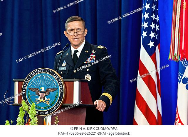 Army Lieutenant General Michael Flynn speaks at the Defense Intelligence Agency change of directorship at Joint Base Anacostia-Bolling, July 24, 2012