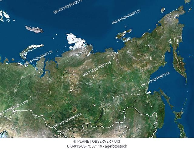 Satellite view of Siberia, Russia (with country boundaries). This image was compiled from data acquired by Landsat satellites