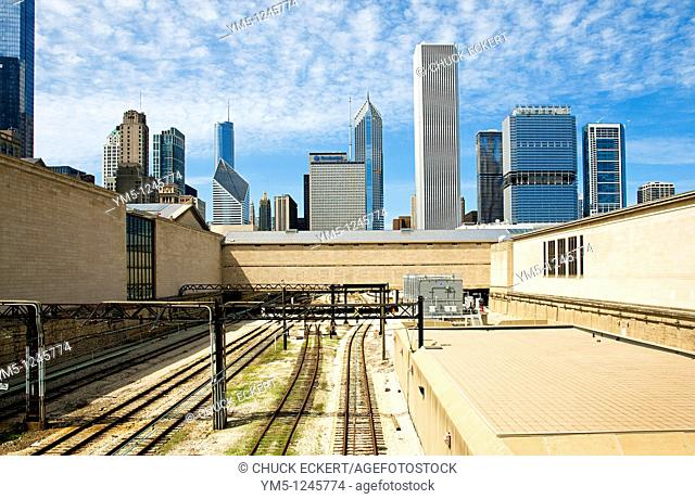 AmTrack Railroad tracks running under the Art Institute of Chicago with the skyline looming in the background