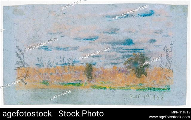 Meadow Weeds. Artist: Arthur B. Davies (American, Utica, New York 1862-1928 Florence); Date: 1908; Medium: Pastel on blue wove paper; Dimensions: 6 1/4 x 10 1/4...