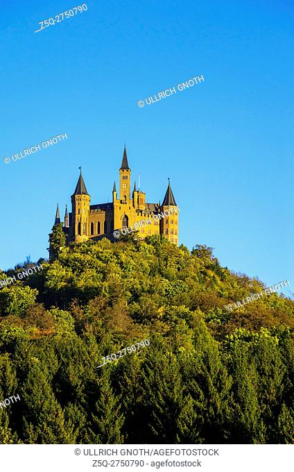 Burg Hohenzollern Castle in the evening light, Hechingen, Baden-Wurttemberg, Germany