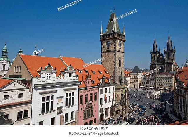 Old Town Square, view on old town hall and Tyn Cathedral, old town, Prague, Czechia