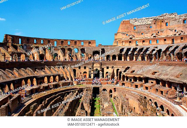 The Colosseum, or the Coliseum, originally the Flavian Amphitheatre in Rome, Italy. construction started in 72 AD under the emperor Vespasian and was completed...