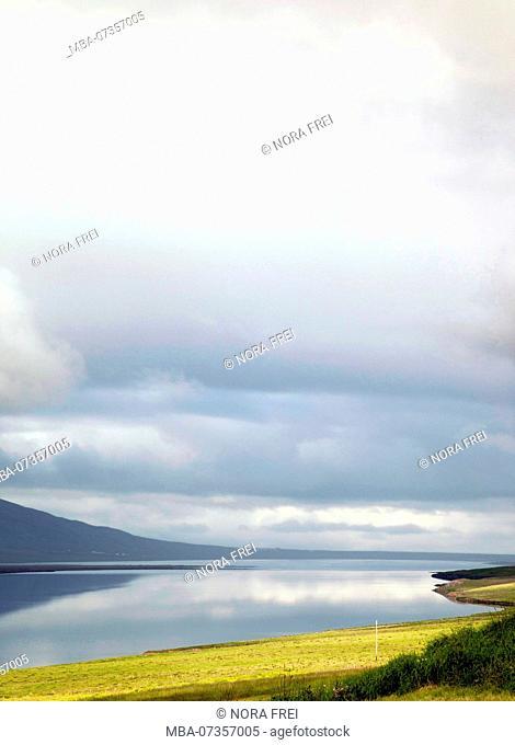 Mountains, lake, Svinavatn, Iceland, landscape