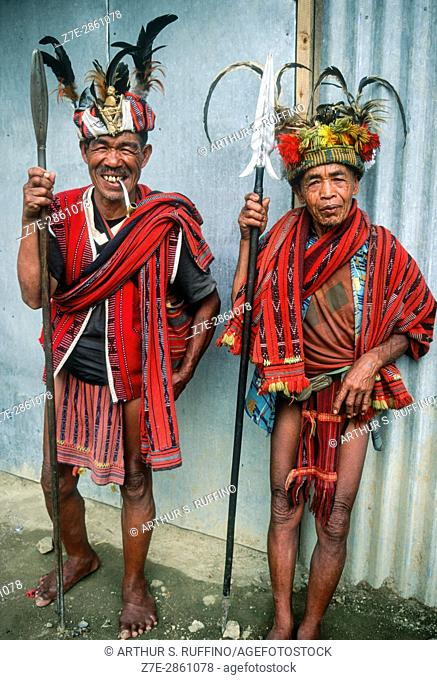 Two Ifugao men in traditional dress. Banaue Rice Terraces, Ifugao Province, northern Luzon, Philippines