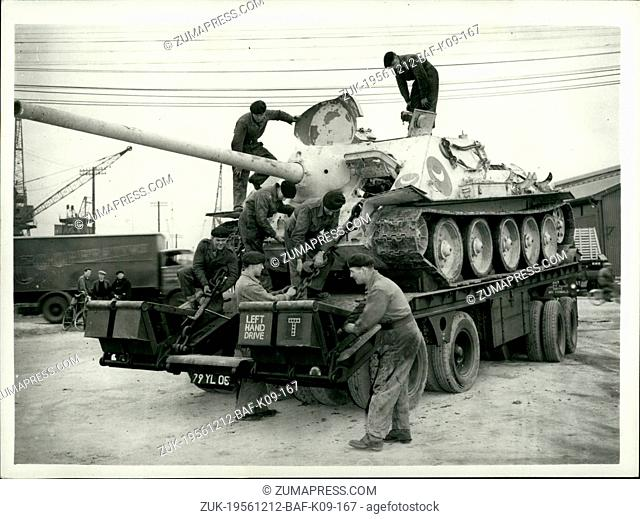 Dec. 12, 1956 - Russian Equipment captured by British troops in port said Arrives at Tilbury.: Russian arms and equipment captured by the British troops in Port...