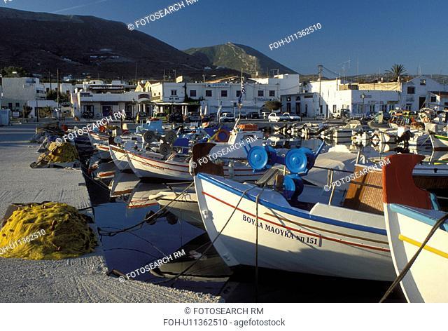 Paros, Greek Islands, Greece, Parikia, Cyclades, Europe, Fishing boats docked in the harbor of Parikia on Paros Island on the Aegean Sea