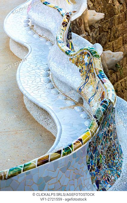 Barcelona, Park Guell, Spain. details of the modernism park designed by Antonio Gaudi