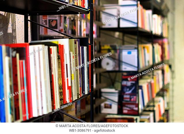 Bookshelves of an independent bookstore. Paris, France