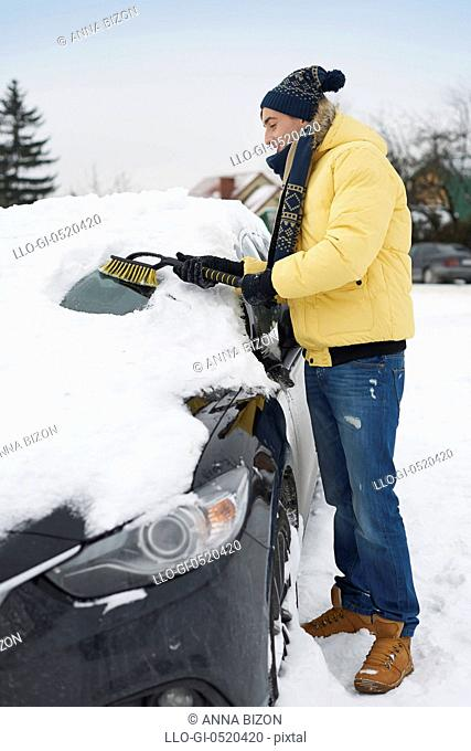 After big blizzard, car needs to clean from snow. Debica, Poland