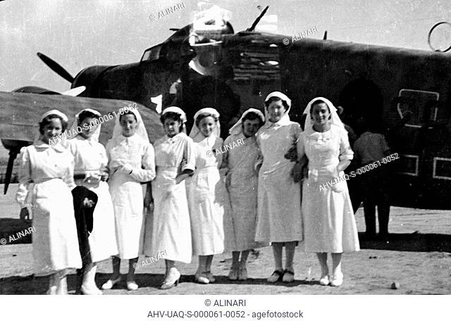 Spanish Civil War 1936-1939: Portrait of a group of nurses during the parade of legionaries to Recajo (La Rioja), Logroño, shot 02/10/1938 by Lorandi Maurizio