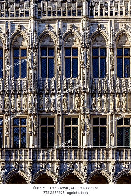 Town Hall at Grand Place, detailed view, UNESCO World Heritage Site, Brussels, Belgium