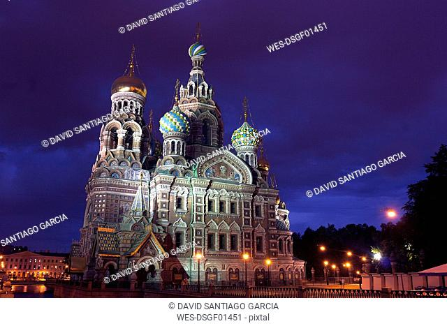 Russia, St. Petersburg, Church of the Savior on Spilled Blood at night