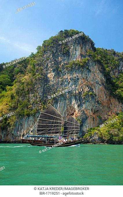 Long-tail boat in Phang Nga Bay, Thailand, Asia