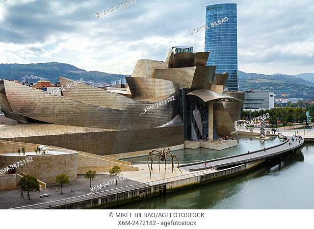 Guggenheim Museum of Art, Nervion river and Iberdrola tower. Bilbao, Biscay, Spain, Europe