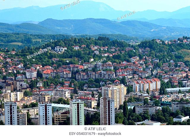 Travel to Europe under summer, panoramic view over Sarajevo from Avaz Twist Tower