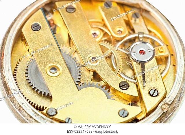 round brass movement of retro pocket watch