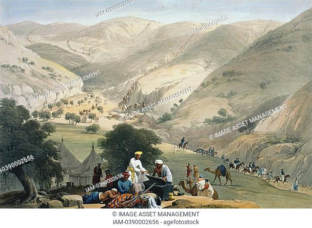 First Anglo-Afghan War 1838-42: Encampment of lst Bengal European Regiment  Regiment struggling over mountains with the artillery  From J Atkinson 'Sketches in...