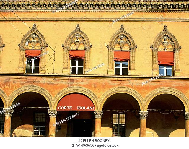 Windows and arcade on the Piazza San Stefano in Bologna, Emilia Romagna, Italy, Europe