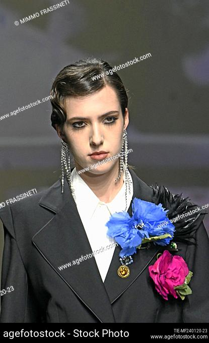 Fashion show by Morfosis, model on catwalk at AltaRoma 2020, Rome, ITALY-24-01-2020