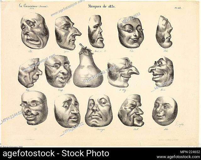 Masks of 1831, plate 143 from La Caricature - 1832 - Honoré Victorin Daumier French, 1808-1879 - Artist: Honoré-Victorin Daumier, Origin: France, Date: 1832