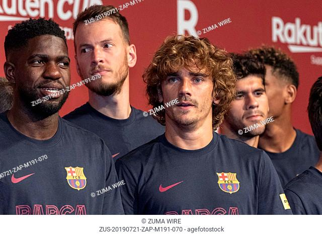 July 21, 2019 - Tokyo, Japan - FC Barcelona player Antoine Griezmann (C) and teammates attend a reception party for the Rakuten Cup at ANA InterContinental...