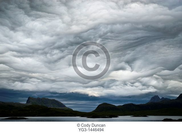 Stormy sky over Selfjord and mountains of Lofoten Islands, Norway