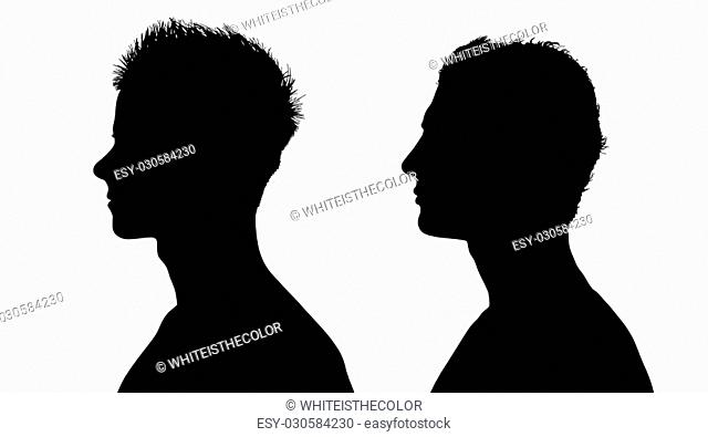 two profiles silhouettes of young white sports men with short hair