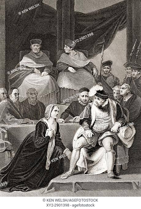 Catherine of Aragon kneeling before her husband King Henry VIII of England at the trial of their marriage. From The National and Domestic History of England by...