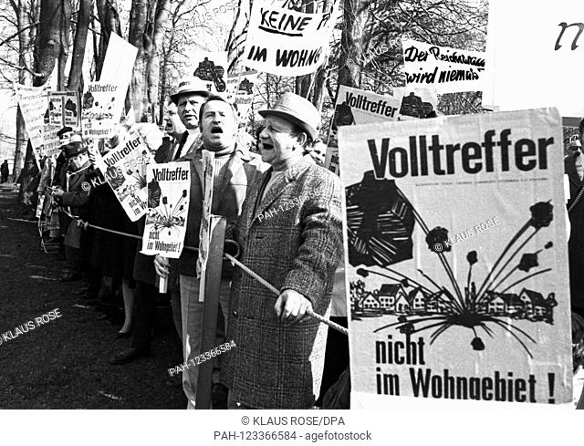 Several hundred citizens from Nuremberg protest on March 14, 1973 in Bonn against a US military training area in the Nuremberg Reichswald