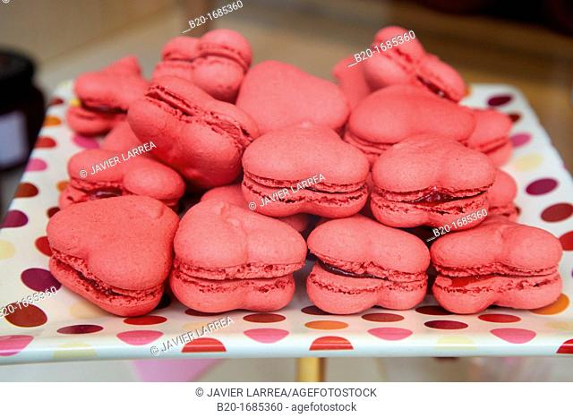 Macarrons, Heart cookies, Pastry shop window, Bilbao, Bizkaia, Basque Country, Spain