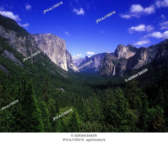 Beautiful landscape view showing the Bridalveil Falls in Yosemite National Park on western slopes of the Sierra Nevada Mountains