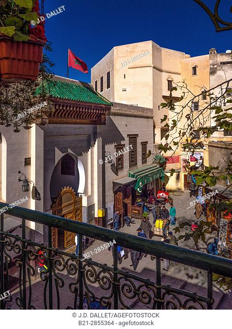 """Morocco, Fes, on the Sefarine Plaza, the entrance to the Library of the Quaraouyne University, in the """"Medina"""" (old part) of Fes"""